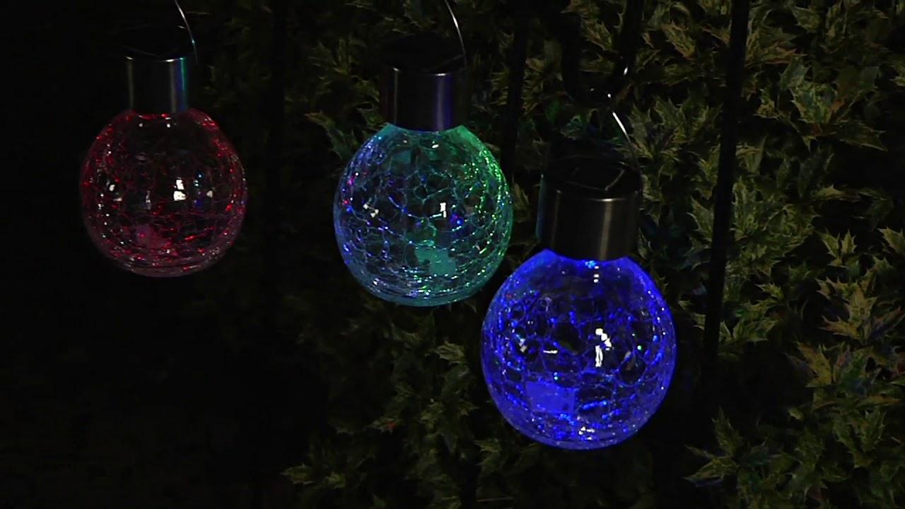 crackle glass hanging solar lights