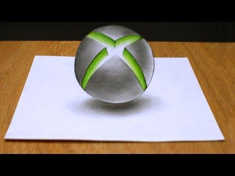 Как нарисовать 3Д логотип Xbox How to draw A 3D logo