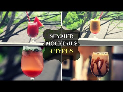 ||4 TYPES OF MOCKTAIL FOR SUMMER|| NONALCOHOLIC|| BEAT THE HEAT|| #RECIPE 32
