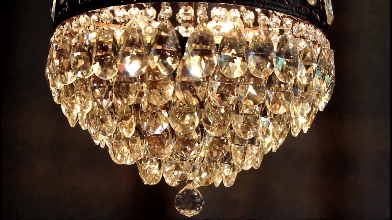 Vintage Antique Luster Crystal Candelabra Chandelier Lighting Brass - Orange chandelier crystals