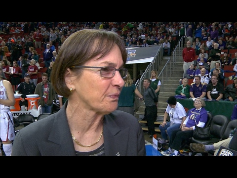 Stanford women's basketball coach Tara VanDerveer reacts to win over WSU in Pac-12 Tournament
