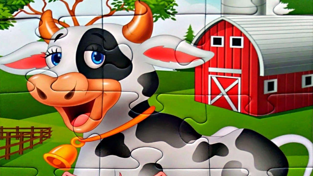 Корова на ферме собираем пазлы для детей - пазлы для ...