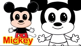 How to Draw Disney Mickey Mouse Cute step by step