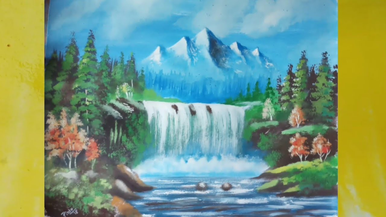 How To Paint A Simple Landscape With Poster Colour Youtube