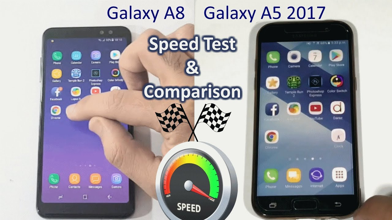 samsung galaxy a8 2018 vs galaxy a5 2017 speed test comparison youtube. Black Bedroom Furniture Sets. Home Design Ideas