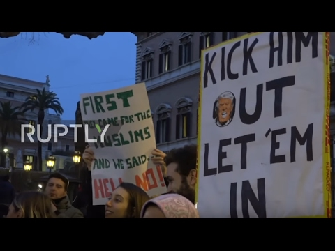 Italy: Protesters rail against Trump's immigration ban outside US Embassy, Rome