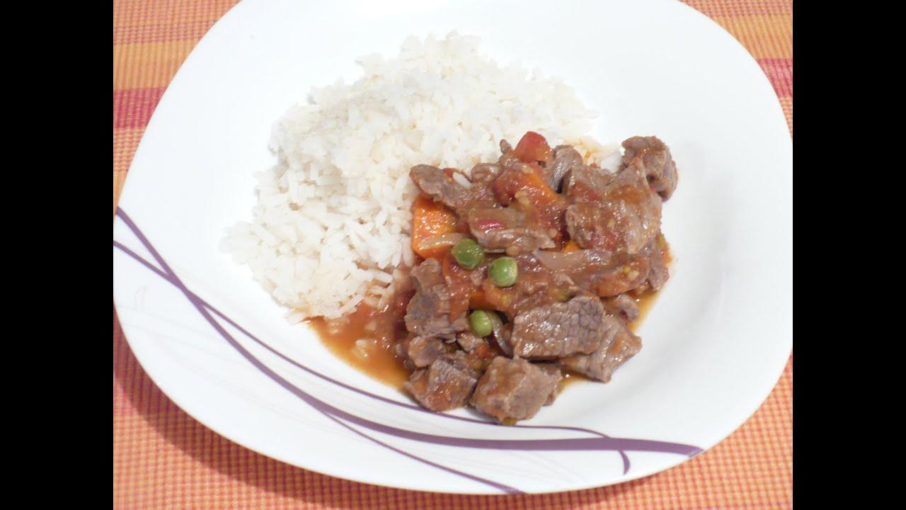 Carne a la jardinera con arroz blanco comida t pica - Comidas con arroz blanco ...