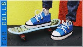 КАК СДЕЛАТЬ КЕДЫ ДЛЯ КУКОЛ НА ПЛОСКУЮ НОГУ ♡ Как сделать обувь для кукол ♡ FOR DOLLS