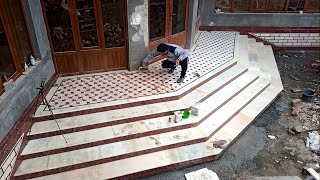 Installation of stairs made of marble and porcelain stoneware.it looked amazing