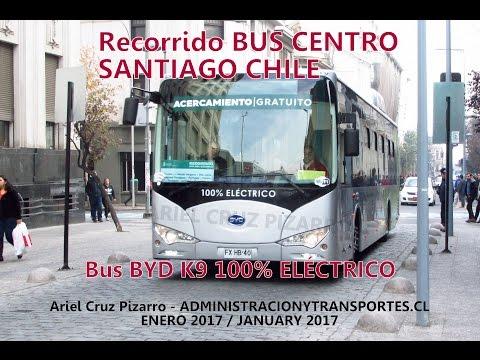 Recorrido Bus Centro Santiago Chile | BYD K9 100% eléctrico