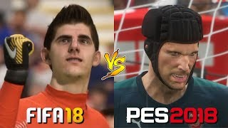 Fifa 18 vs. pes 2018 | goalkeeper emotions | saves & animations gameplay comparison