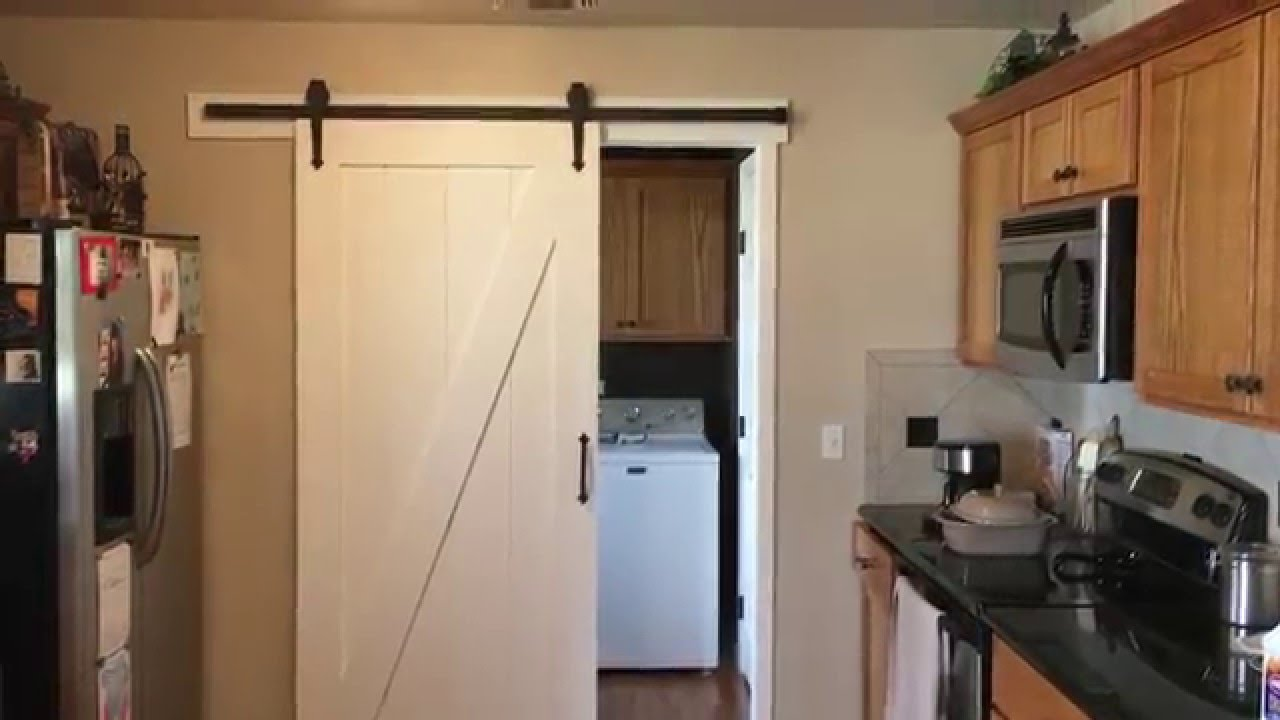 Barn Door For Kitchen Barn Door Installed Youtube