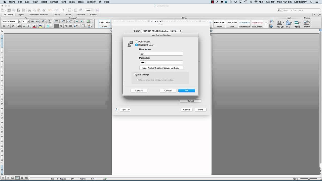 Konica Minolta User Authentication On MAC OSX