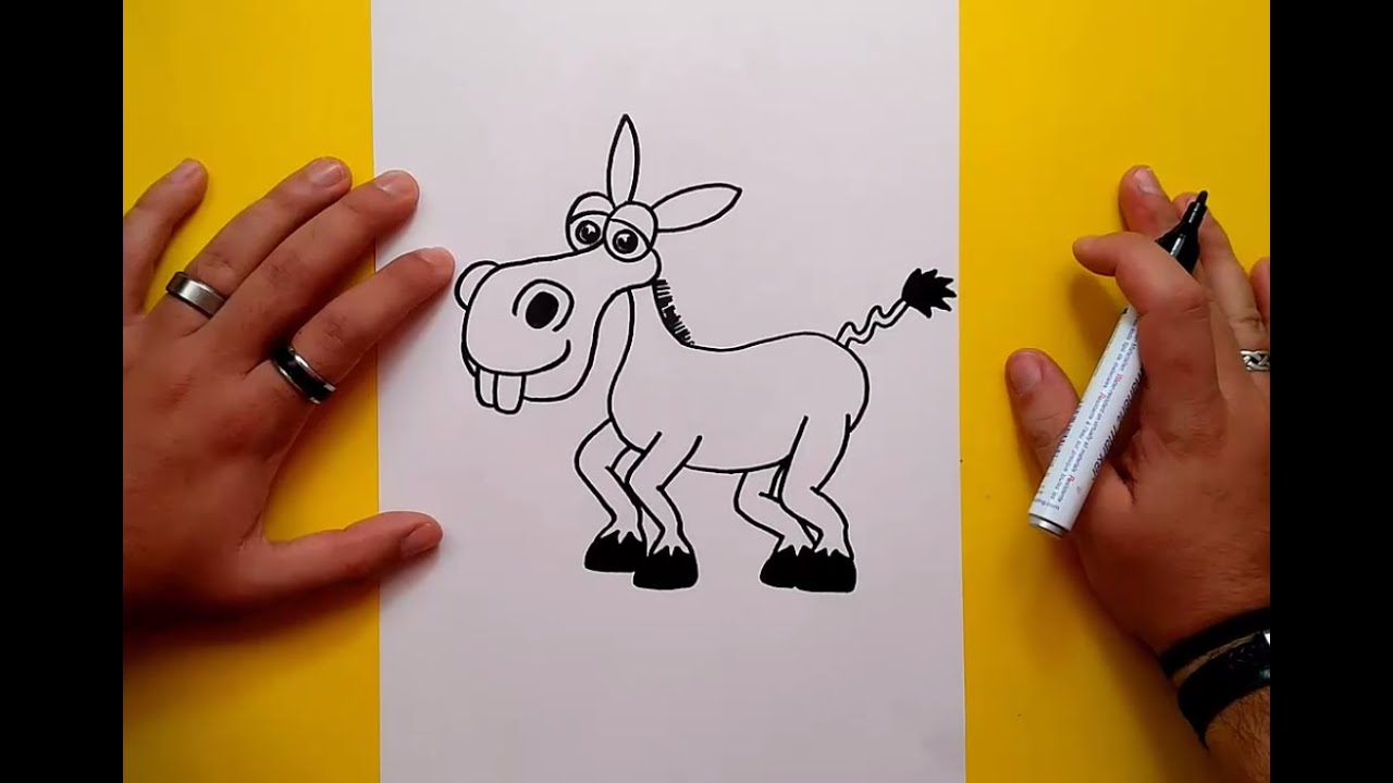 Como dibujar un burro paso a paso  How to draw a donkey  YouTube