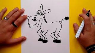 Como dibujar un burro paso a paso | How to draw a donkey