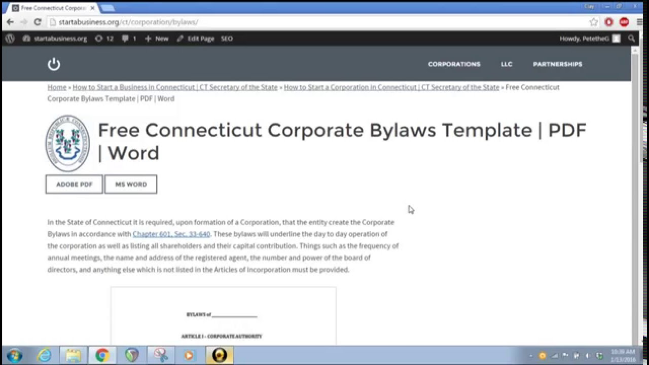 free connecticut corporate bylaws template pdf word youtube