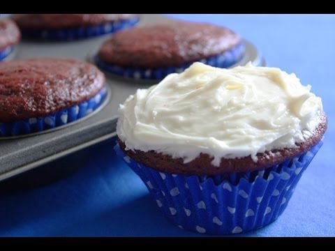 Easy Red Velvet Cupcakes - One Bowl, No Eggs, Made with Olive Oil.