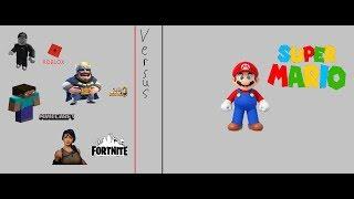 TM memorial day spécial Roblox/Minecraft/Clash Royale/Fortnite vs Mario Jeu vidéo lutte 4 vs 1.