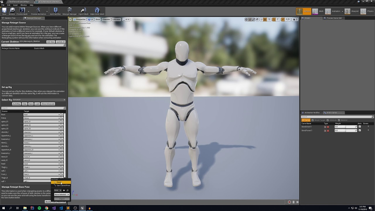 Animation Re-targeting with Unreal using Mixamo assets