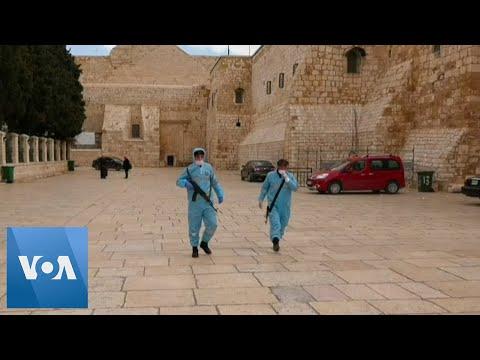 Workers Disinfect the West Bank City of Bethlehem Under Lockdown Amid Coronavirus Outbreak