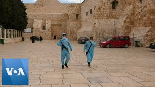 Workers Disinfect the West Bank City of Bethlehem Under Lockdown Amid Coronavirus Outbreak