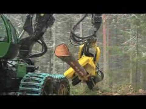 John Deere 1270E harvester in the forest