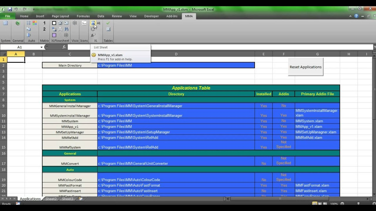 Worksheet Name Listbox   General Excel Applications Video ...