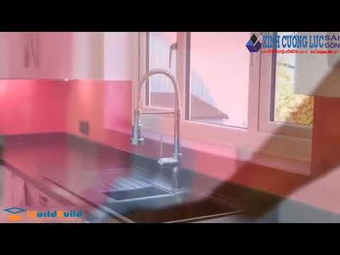 Kính ốp bếp - Kính ốp bếp màu hồng | Kính Cường Lực Sài Gòn | Hotline: 09666600927