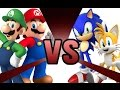 MARIO and LUIGI vs SONIC and TAILS! Cartoon Fight Club Episode 3