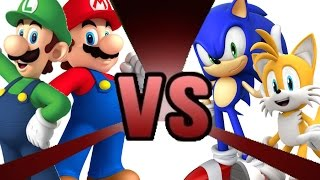 Repeat youtube video MARIO and LUIGI vs SONIC and TAILS! Cartoon Fight Club Episode 3
