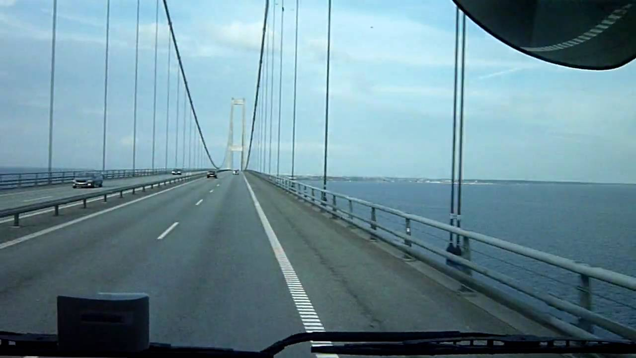 Crossing bridge Odense - Copenhagen by truck... (Storebaelt bridge) - YouTube