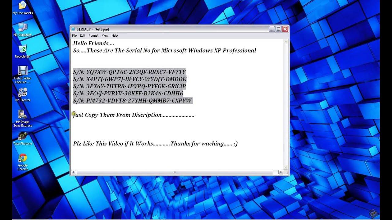 нужен ключ для windows xp home edition
