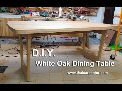 DIY White Oak Dining Table