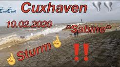 """💨10.02.2020- Cuxhaven Orkan🌪/ Sturm""""Sabine"""" 14.00 Uhr-💖Cuxhaven/Kugelbake💖"""