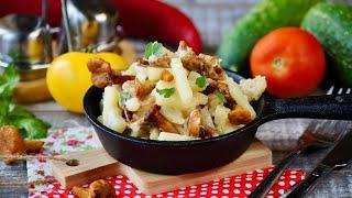 Жареная картошка с лисичками в сметане видео рецепт