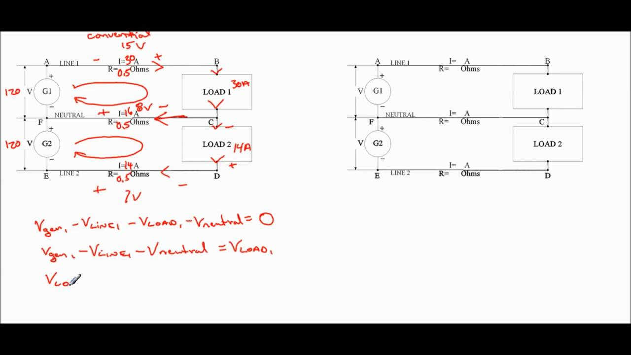 Three Wire Circuit Using Conventional Flow Theory To Solve