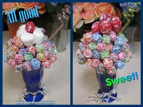 DIY Candy Bouquet: Dum Dums Tootsie Roll Lollipop Ice Cream Sundae   Sparkle by Monica
