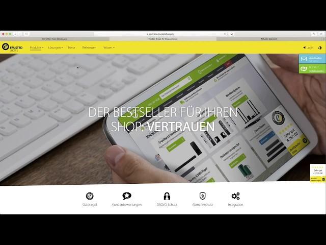 Trusted Shops Siegel und Bewertungen für Onlineshops + GUTSCHEINCODE