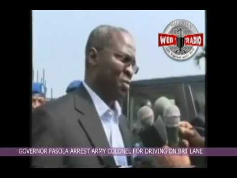 Gov. Fashola arrests Army Colonel for driving on BRT bus lane