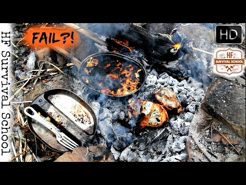 Bushcraft Cooking Meat - Caveman Steak , Bannock / Corn Bread with Cheese , Survival - HD Video