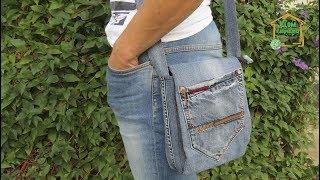 Как сшить сумку своими руками из старых джинсов / шьем сумку через плечо / подробный мастер класс(, 2017-07-13T14:30:03.000Z)