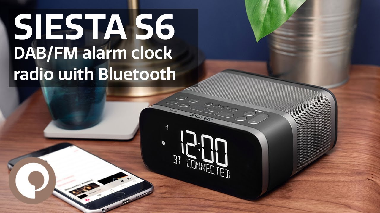 pure siesta s6 premium dab fm alarm clock radio with bluetooth youtube. Black Bedroom Furniture Sets. Home Design Ideas
