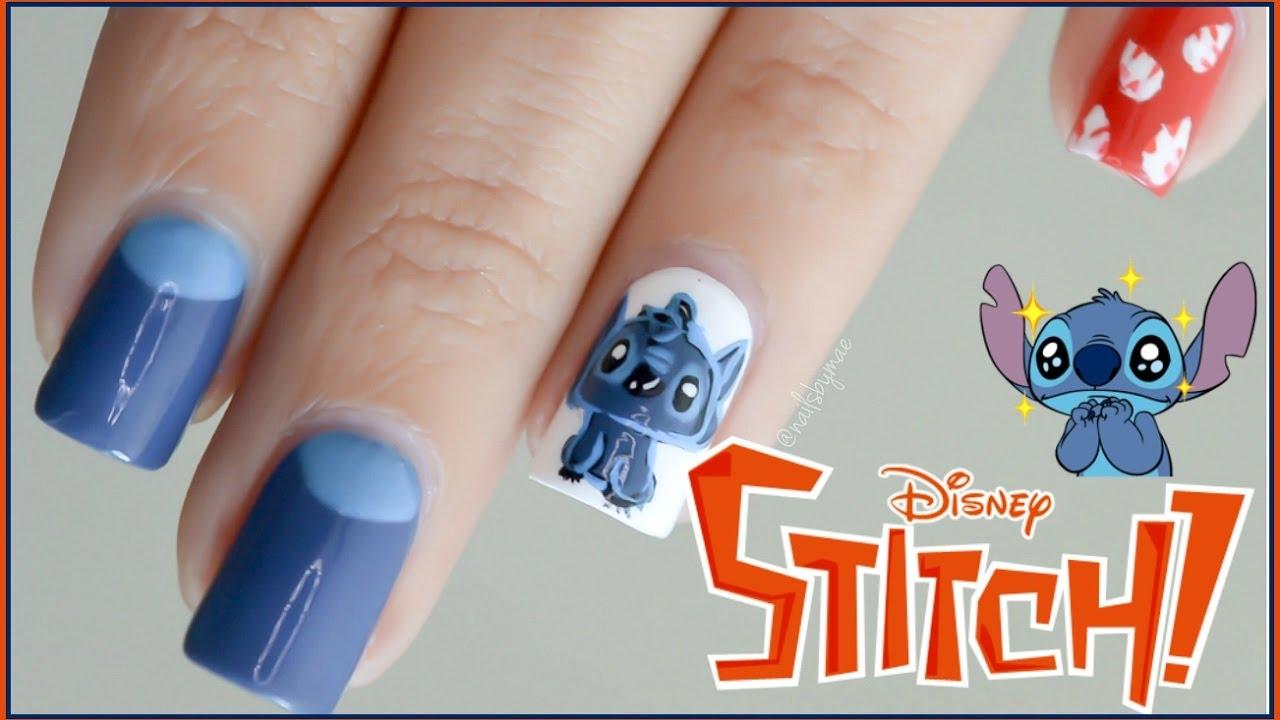disney's stitch nail art tutorial