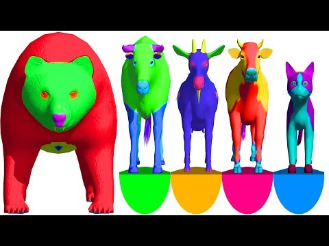Learn Colors With Colors Domestic Animals In Surprise Egg | Domestic Animal Names & Sounds For Kids