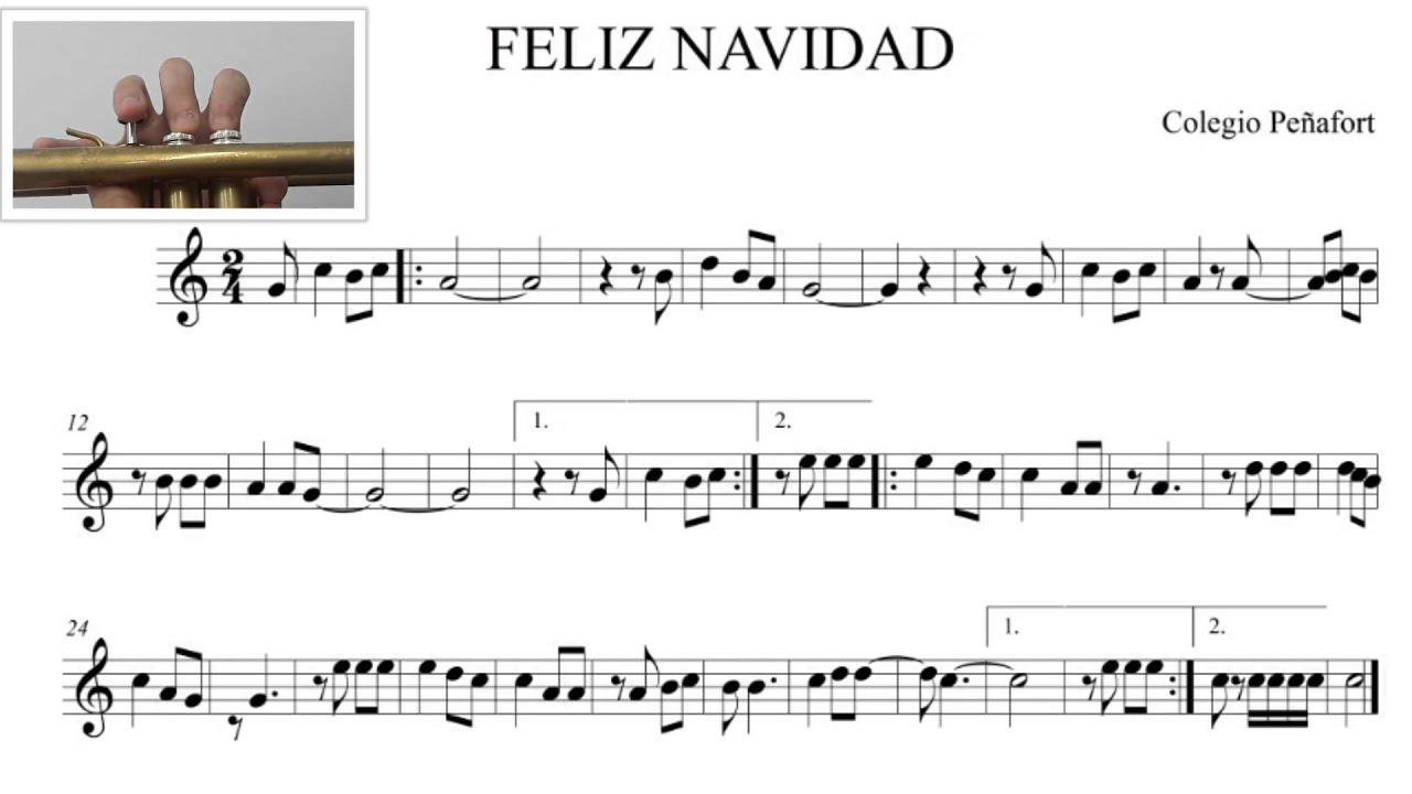 Feliz Navidad Clarinete.Partitura De Trompeta Feliz Navidad Feliz Navidad