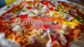 ミャンマーであえて一風堂とピザを食べました。 巨大涅槃像は、チャウッ...