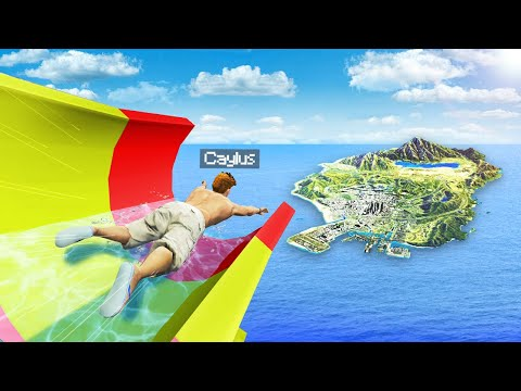 Jumping ENTIRE MAP From WATERSLIDE In GTA 5.. (Mods)