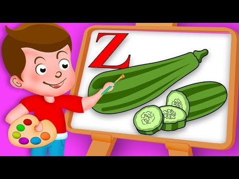 Drawing Alphabet Z with Zucchini Vegetable Drawing Paint And Colouring For Kids kids Drawing TV
