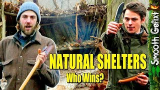 Head-to-head Natural SHELTER BATTLE Overnight - Axe & pocketknife VS survival knife & saw