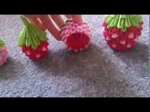 3D Origami Strawberries